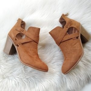 Rampage • faux suede open side heeled booties